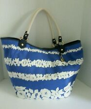 Tommy Hilfiger Canvas Hobo Style Blue And White Flower Handbag NWT