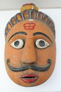 Antique Old HandCarved Painted Wooden Tribal Demon Face Mask Wall Hanging NH2132
