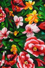 "Vintage 35/"" W Hawaiian Print Cotton Fabric Brown /& Cream BTY Kokio /& Kahili"