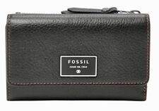 💝FOSSIL Dawson Black Leather Flap Purse Wallet Multifunction New With Tags