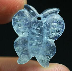 12.9Ct Natural Aquamarine fluorescent Carved Butterfly Quartz Pendant Polished