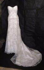 Allure Bridal 10 Strapless Corset Bejewelled Train Wedding Dress