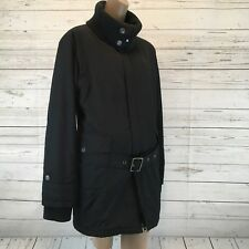 Oakley Women's XL Black Long tunic belted Jacket 96548 cowl neck double zip K