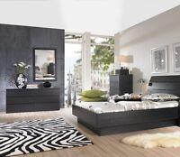 Black 3 Piece Queen Platform Bed Furniture Set Bedroom Home Living Two Dressers
