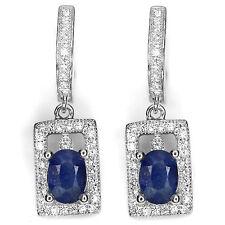 REAL GEM OVAL 7 X 5 MM BLUE SAPPHIRE &W.CZ STERLING 925 SILVER DANGLE EARRINGS