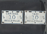 "ONTARIO, Belleville 1979 license plate ""10"" *TAXI/CARTAGE***MATCHED PLATE # SET*"