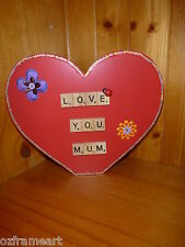 PERSONLISED 'LOVE YOU MUM' WOODEN RED HEART SCRABBLE LETTERS GIFT -MOTHERS DAY