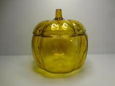 Vintage Anchor Hocking Amber Pumpkin Glass Cookie Jar