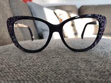 Just Cavalli JC646S women Mint Cond Puprle Cateye Leopard Eyeglass rimmed