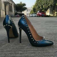 Fashion Women Pumps Pointed Toe High Heels Blue Rivets Shoes Woman Plus Size 15
