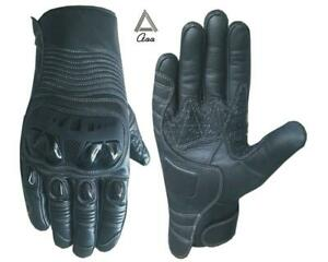 Motorbike Motorcycle Real Leather Gloves Hard Knuckle Protection TouchScreen