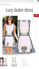 bnwt skater style summer dress white celebrity inspired size 12 lucy