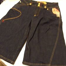 Apple Bottom unisex womens dark blue jeans Wide  Legs shorts sz 10