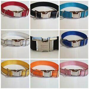 Handmade Personalised Reflective nylon Dog Collar Custom Name ID Tags for Pet