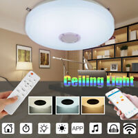 Modern LED Music Ceiling Light 48W Dimmable bluetooth Speaker Down Fixture Lamp