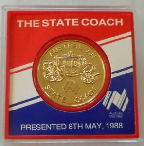 AUSTRALIA. THE STATE COACH, gift to the Queen 1988 souvenir medal 32mm in a case