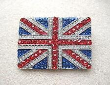 Dazzling & Patriotic Red, White, Blue Crystal Union Jack Brooch/Pin