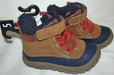New Garanimals Brown Plushed Lined Hiking Boots Infant Toddler Boys Girls Size 5