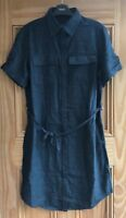 NEXT New Navy Blue Linen Belted Shirt Dress Petite Tall Regular Size 6-24