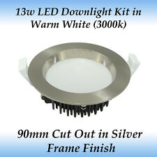 13 Watt Dimmable LED Downlight Kit in Warm White Light with Brushed Chrome Frame