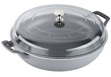 Staub Cast Iron 3.5-qt Braiser with Glass Lid Graphite Grey NEW