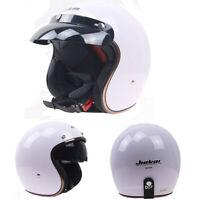 DOT Motorcycle Helmet Half Open Face Integrated Sun Visor Cruiser Scooter White