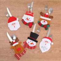 Xmas Santa Claus Kitchen Table Decor Tableware Holder Pocket Dinner Cutlery Bag