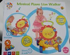 Musical lion baby walker kids nursery activity toy first steps piano toddler fun