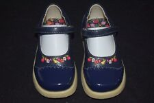 NWT Girls Gymboree Apple For The Teacher Shoes Size 6 Floral Navy Blue Vintage