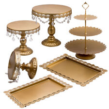 Round Cake Stand 1Tier Golden Crystal Plates Dessert Display 6PCS  Wedding Party