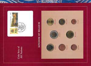 Coin Sets of All Nations Belgium w/card 1999-2002 UNC 2 EURO 2002 1 Euro 1999