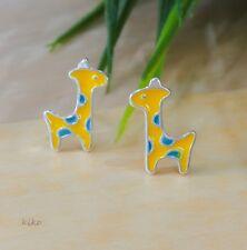 Cute Giraffe Earrings, 925 Sterling Silver Enameled Earrings, Giraffe Design.