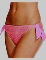 Hula Honey Crochet Side Tie Bikini Bottom Cantalope/Lilac Size Large