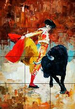 "Mexico Style Bull Fighter Ceramic Tile Wall Art Mural Décor BackSplash 18"" X 24"""