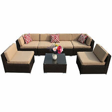 7PC Outdoor Wicker Rattan Sectional Patio Furniture Sofa Set Garden Chair