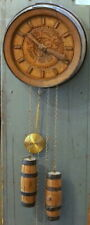 Vintage German STRIKING WALL CLOCK Hour/Half-hour Chime Barrel-Shape Rare