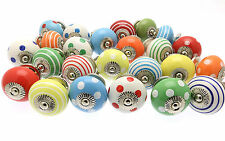 12 x Mixed Bright Coloured Ceramic Cupboard Knobs Cabinet Drawer Knobs (BRGHT-12