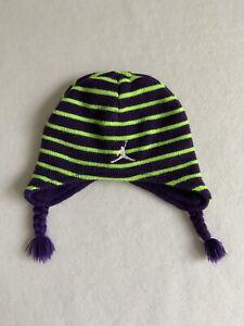 Air Jordan Jumpman Infant Purple Green Beanie Winter Hat Ear Flaps 100% Acrylic