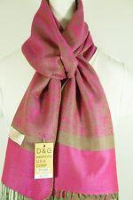 DG Women's Pashmina Scarf Shawl-Paisley Hot-Pink Green,Silk Cashmere*Soft*027