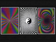 3 Individual Blacklight Posters Trippy Psychedelic New Never Hung Poster Smoke
