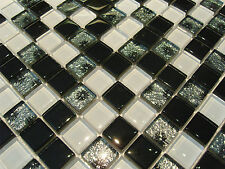 Glasmosaik Mosaik Fliesen Klarglas 8mm schwarz weiss silber-grau Effekt bad !
