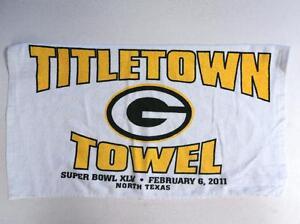 2011 Super Bowl XLV Green Bay Packers White Titletown Towel - FLASH SALE
