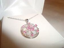 Women's Created Pink Sapphire & Diamond Gold Medallion Flower Necklace $199.99