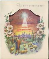 VINTAGE BETHLEHEM NATIVITY SHEEP WISE MEN STAR FLOWERS CHRISTMAS CARD ART PRINT