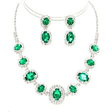 Emerald Green Rhinestone Silver Necklace Jewelry Earring Set Prom Evening Bride