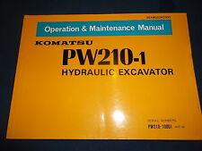 KOMATSU PW210-1 EXCAVATOR OPERATION & MAINTENANCE BOOK MANUAL S/N 1001-UP
