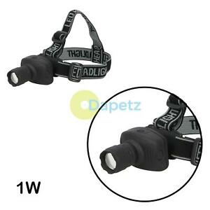 Led Head Torch 1W Powerful Light Rubberised Abs Camping Spot/Floodlight