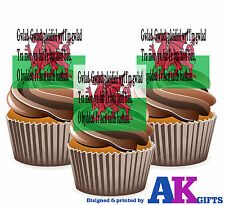Wales Welsh National Anthem Flag 12 Edible Wafer Cake Toppers Rugby Six Nations