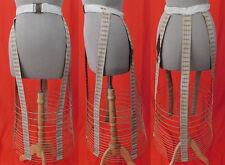Victorian Antique Crinoline Brown Plaid Linen Wire Hoop Cage Petticoat Skirt Vtg