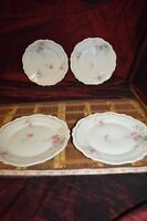 4 O&E.G. Royal Austria Pink Rose & Leaf Design Salad Plates 7 3/4""